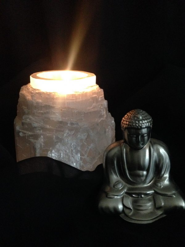 Selenite Tea Light Candle Holder (natural)