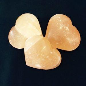 Selenite Heart - Large (peach)