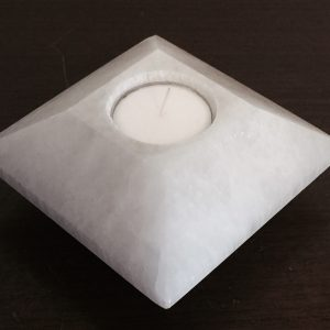 Selenite Tea Light Candle Holder (carved)