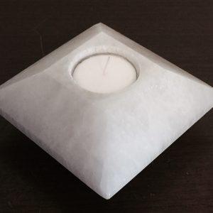 Selenite Tea Light Candle Holder (carved)
