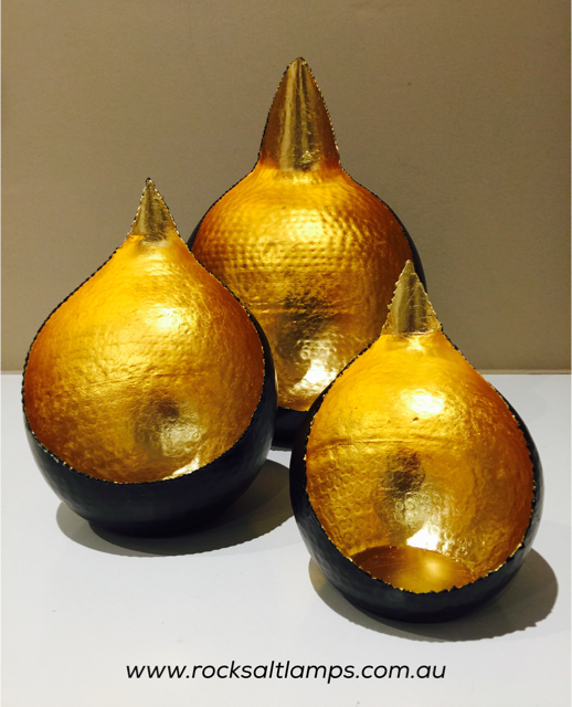 Brass & Gold Teardrop Tea Light Holder Set - save > 20%
