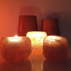 Rock Salt Tea Light Candle Holders