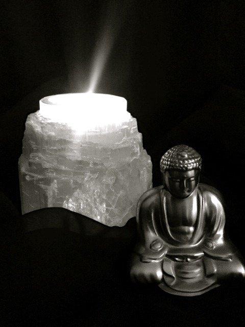 Selenite Tea Light Candle Holders