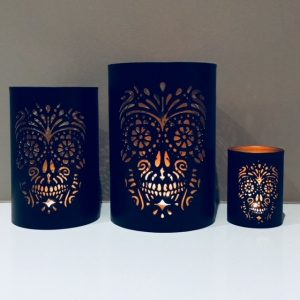 Skull Metal Tea Light Holder Set - FREE shipping