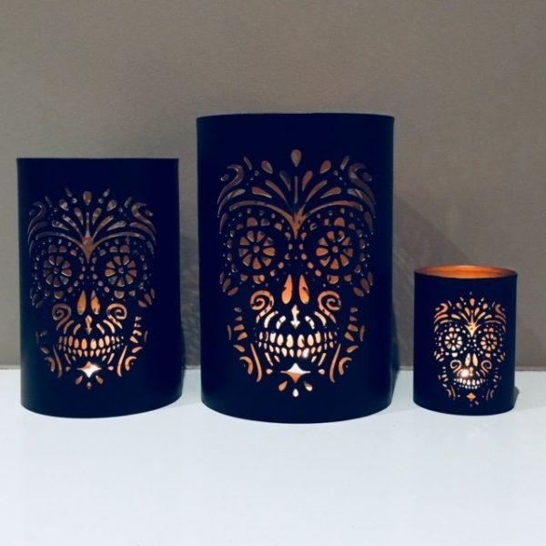 Skull Metal Tea Light Holder Set - FREE shipping