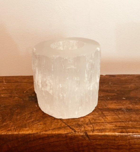 Selenite Tea Light Candle Holder (natural cylinder)