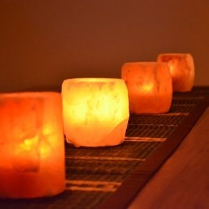 Rock Salt Tea Light Candle Holders